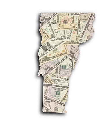 Image of dollars cropped in the shape of the State of Vermont